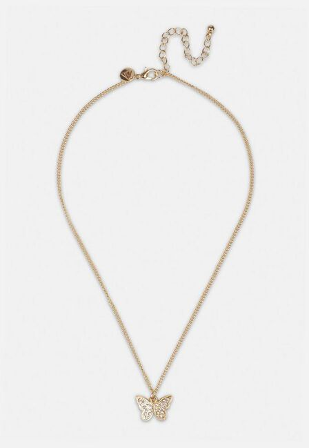 Missguided - Gold Gold Look Ditsy Butterfly Pendant Necklace