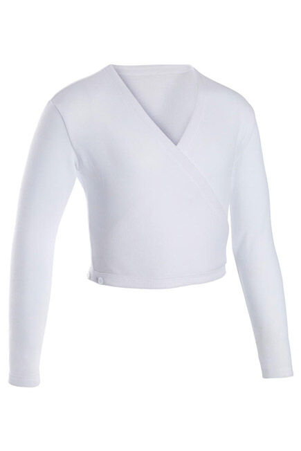 DOMYOS - Girls' Ballet Wrap-Over Top - White, 6-7Y