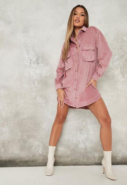 Missguided - Pink Blush Soft Cord Oversized Shirt Dress