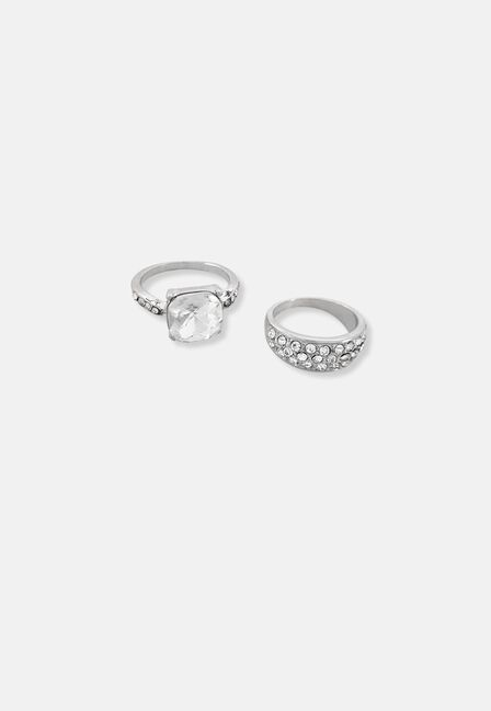 Missguided - 2 Pack Crystal Rings