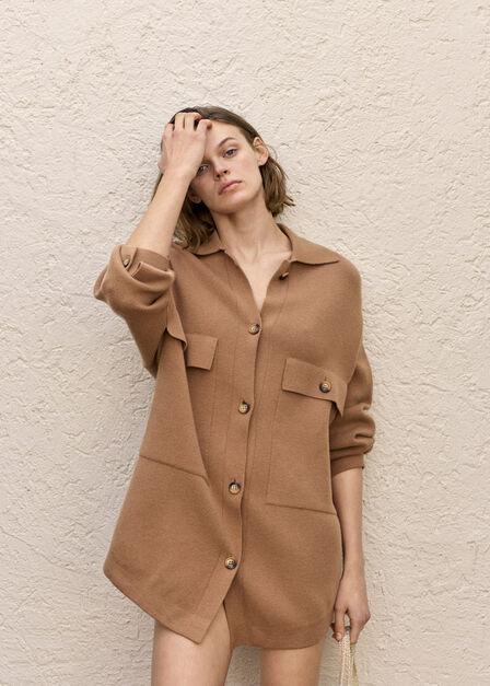 Mango - medium brown Button knit cardigan