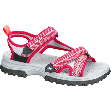 QUECHUA - EU 36-37  Children's hiking sandals MH120 TW - JR size 10 TO 6, Bright Pink