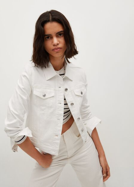 Mango - white Cotton denim jacket, Women