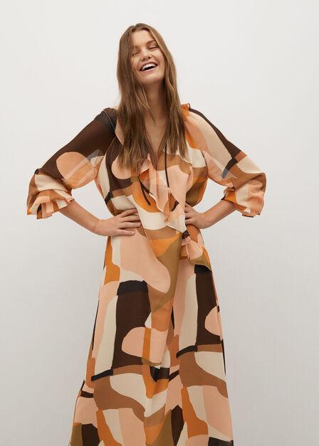 Mango - Orange Flowy Printed Dress