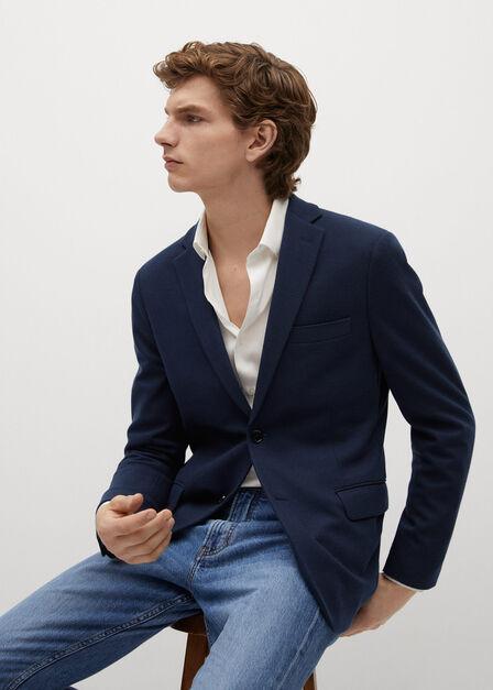 Mango - navy Slim-fit textured blazer