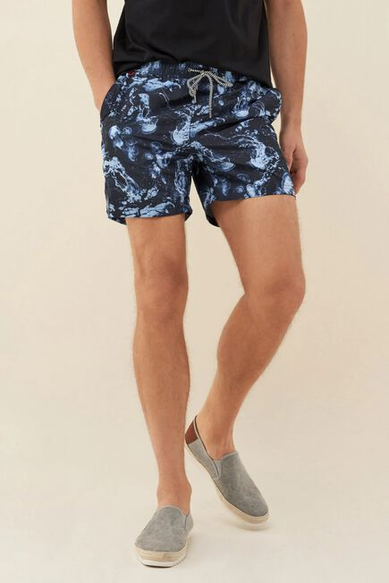 Salsa Jeans - Blue Swimming shorts with jellyfish print