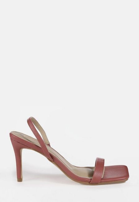 Missguided - Pink Square Toe Slingback Mid Heels