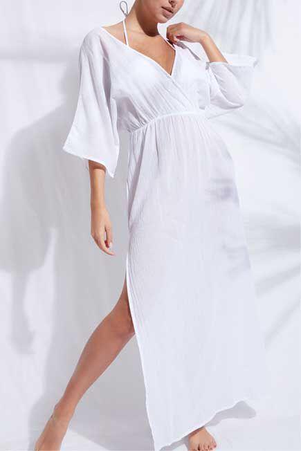 Calzedonia - WHITE Criss-Cross Neck Dress