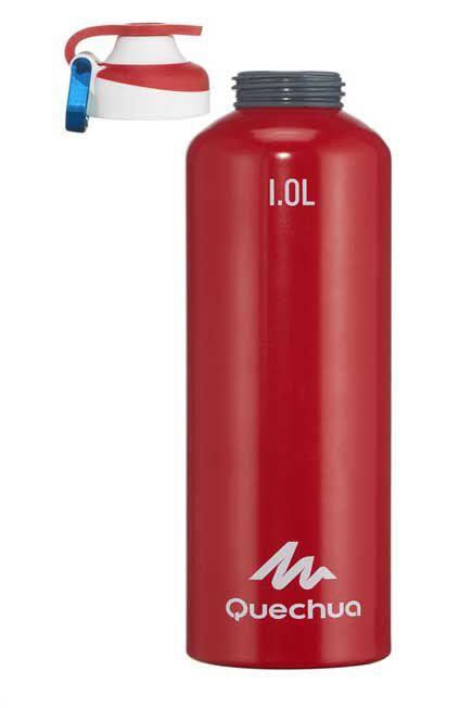 QUECHUA - Flask 500 Alum. water bottle | Quick-open cap - 1 L - red, Unique Size