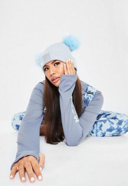 Missguided - Blue Missguided Ski Pom Pom Hat