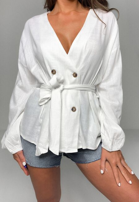 Missguided - White Linen Look Belted Long Shirt