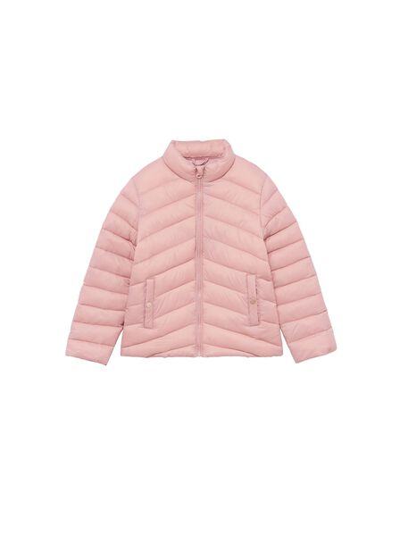 Mango - pink Long collar quilted coat