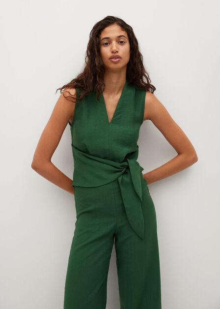 Mango - green Lyocell jumpsuit with belt
