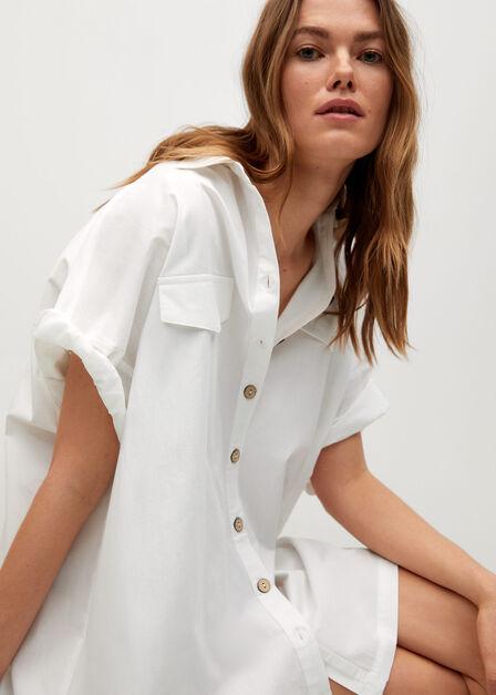 Mango - White Oversize Shirt Dress