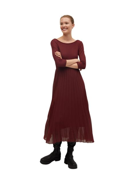 Mango - dark red Pleated skirt dress