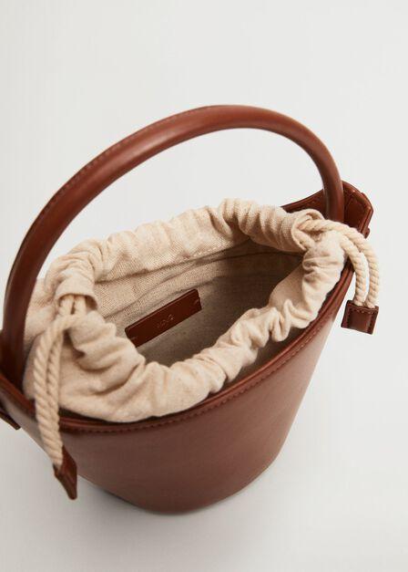 Mango - Medium Brown Basket Mini Bag, Women