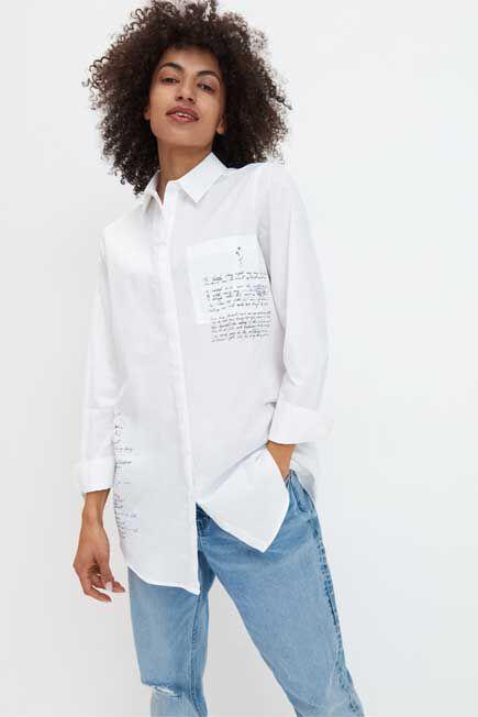 Mohito -  Cotton Shirt With Slogans - White