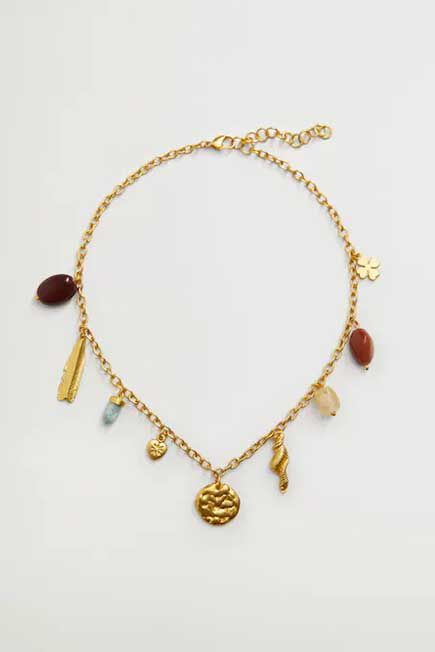 Mango - Gold Mixed Bead Necklace, Women