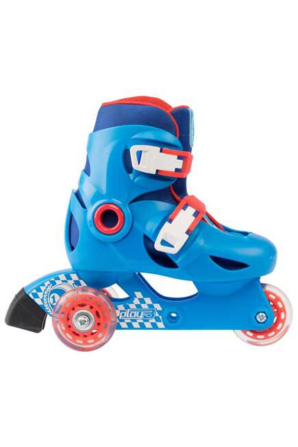 OXELO - Play 3 kids' skates - blue/red, EU 28-30