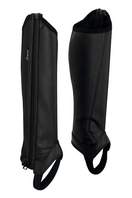 FOUGANZA - 140 Synthetic Children's Horse Riding Classic Half Chaps - Black, 8 Yrs/H 28cm