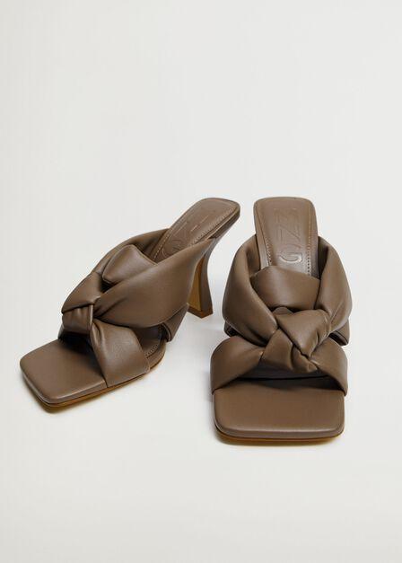 Mango - Pastel Brown Knot Heel Sandals