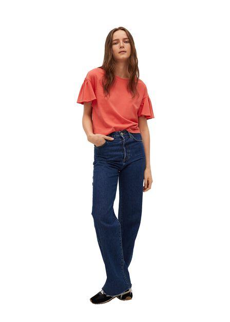 Mango - Bright Red Frills Cotton T-Shirt, Women
