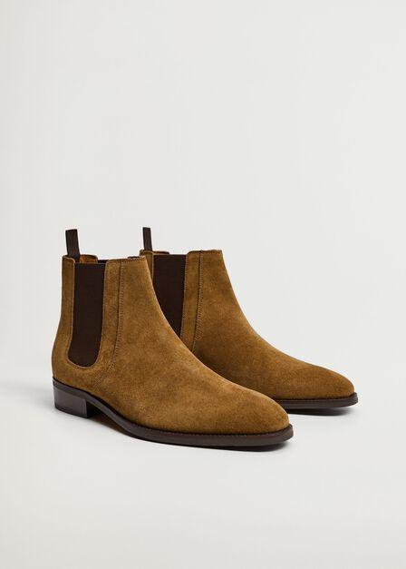 Mango - lt pastel brown Chelsea suede boots