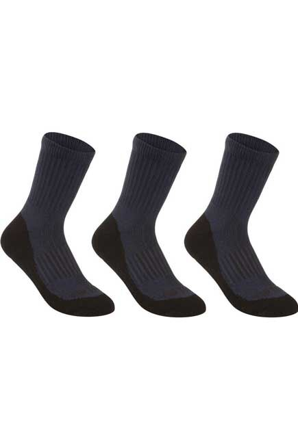 ARTENGO - RS 500 Junior High Sports Socks Tri-Pack - Navy, EU 27-30