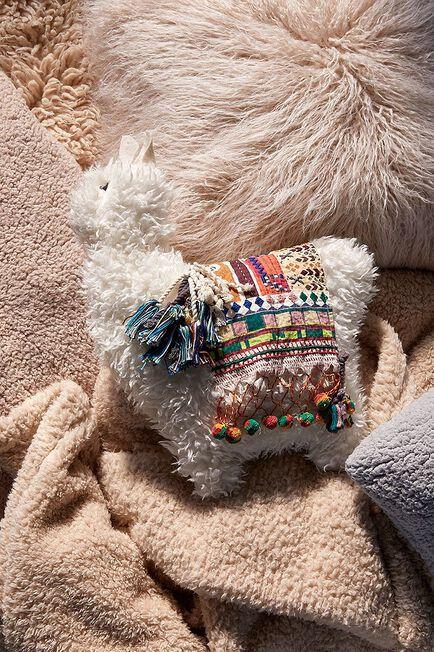 Urban Outfitters - Creme Furry Llama Cushion