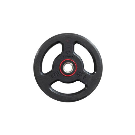 DOMYOS - 5 Kg  Rubber Weight Disc with Handles 28mm - 5kg, Black