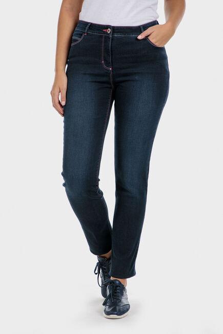 Punt Roma - Fuchsia topstitch denim trousers