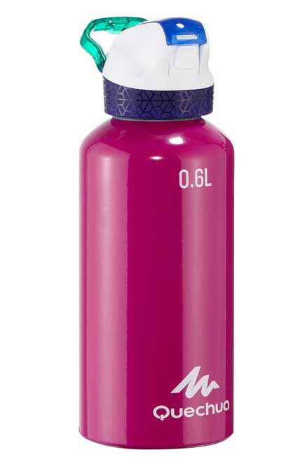 QUECHUA - Flask 900 Alum. water bottle | Instant opening with straw - 0.6L - purple