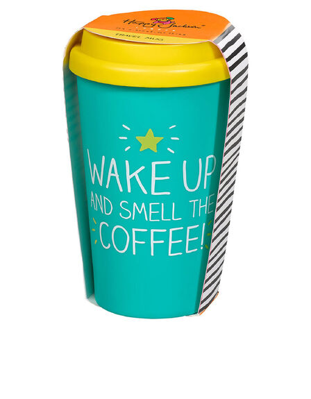 HAPPY JACKSON - Happy Jackson Smell The Coffee! Turquoise/Yellow Travel Mug