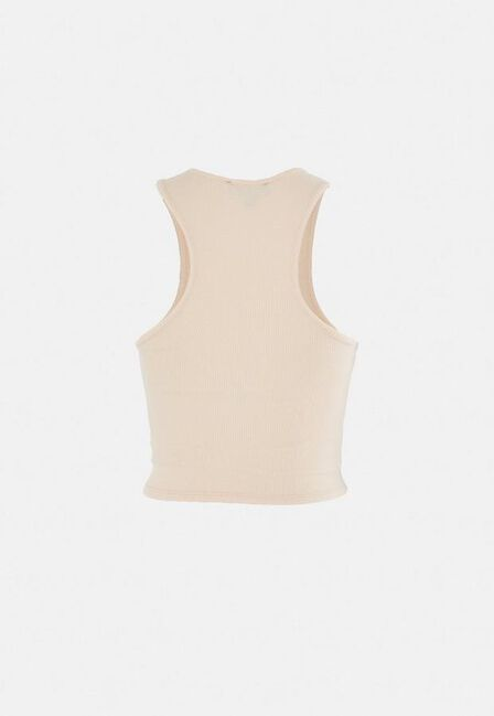 Missguided - Nude Rib Racer Front Crop Top