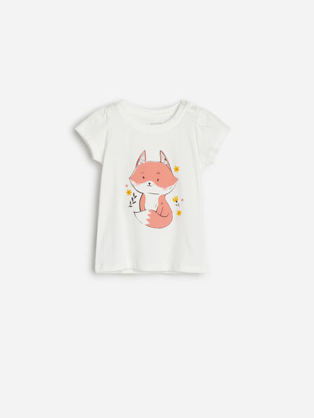 Reserved - Ivory Cotton T-Shirt With Fox Motif, Kids Girl