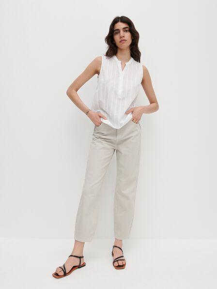 Reserved - Ivory Sleeveless Cotton Blouse, Women