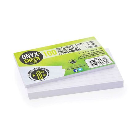 ONYX + GREEN - Onyx & Green Index Cards RuLED Made From Bamboo Paper Eco Friendly 3 x 5 Inches [Pack of 100]