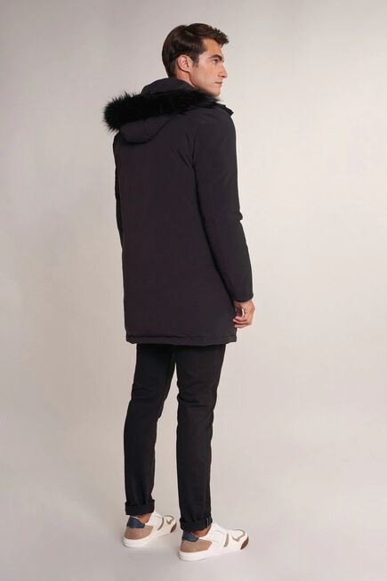 Salsa Jeans - Black Waterproof long jacket with removable faux fur