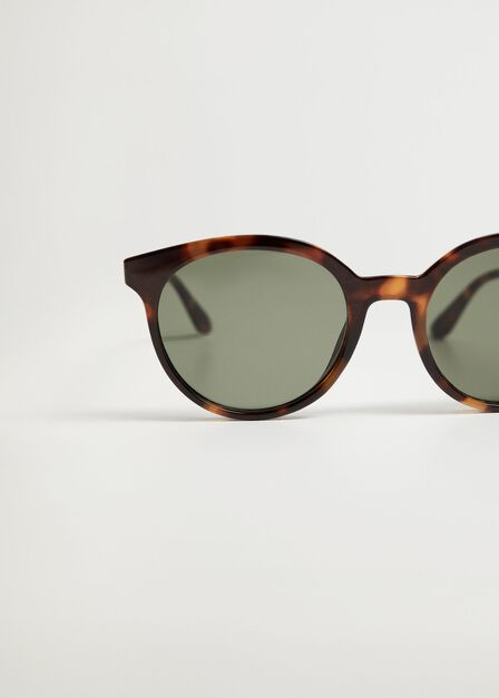 Mango - Dark Brown Tortoiseshell Rounded Sunglasses
