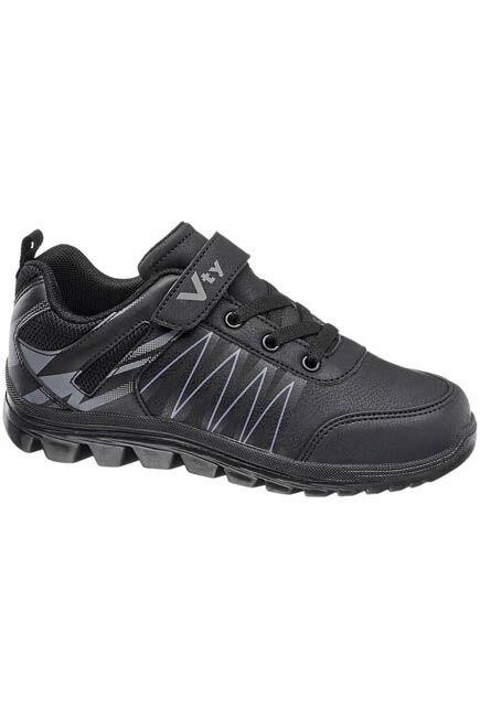 Victory - Black Velcro Sneakers, Kids Boy
