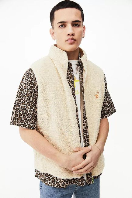 Urban Outfitters - Creme UO Nomad Ecru Teddy Gilet, Men