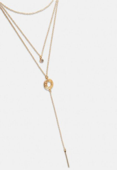 Missguided - Gold Look Geo Ring Y Drop Necklace