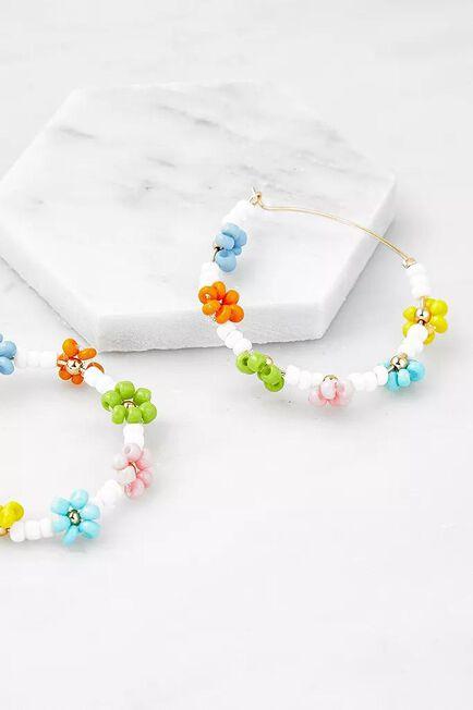 Urban Outfitters - Assorted Rainbow Floral Beaded Hoop Earrings, Women