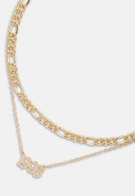 Missguided - Gold Look 1998 Gothic Year Necklaces 2 Pack