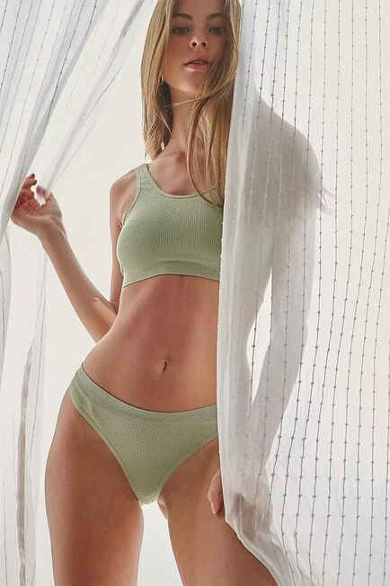 Urban Outfitters - Moss Out From Under Markie Seamless Ribbed Thong, Women