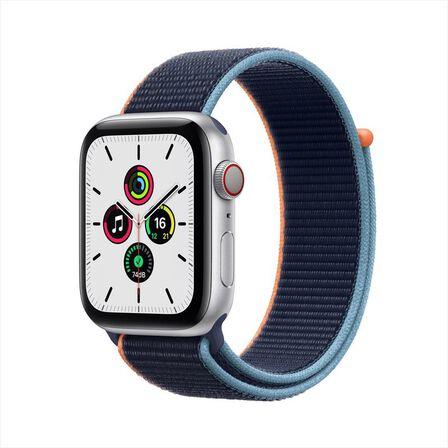 APPLE - Apple Watch SE GPS + Cellular  40mm Silver Aluminium Case with Deep Navy Sport Loop
