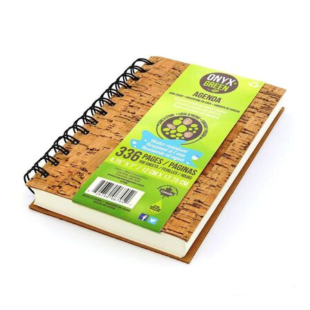 ONYX + GREEN - Onyx & Green Spiral Agenda Daily Planner Cork Cover Stone Paper with Undated Sheets Eco Friendly