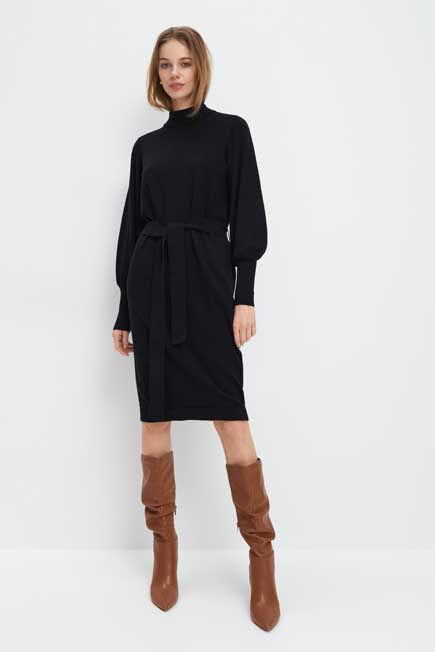 Mohito -  Waist Tie Knitted Dress - Black