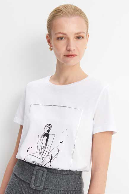 Mohito -  Printed T-Shirt - White