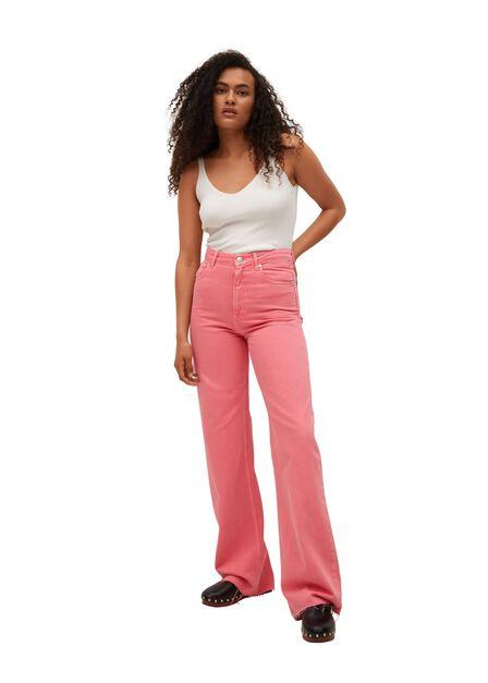 Mango - bright pink Wide leg high waist jeans, Women